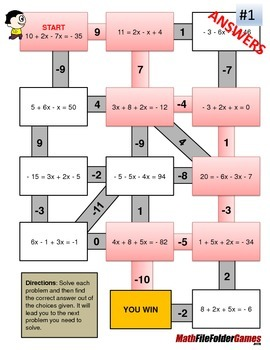 Combining Like Terms Mazes (Fun Worksheets)