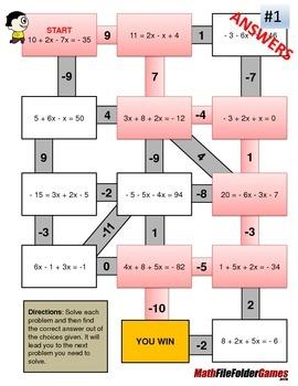 Combining Like Terms Mazes (Fun Worksheets) by MathFileFolderGames
