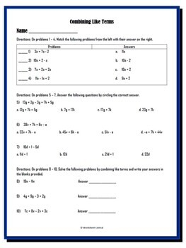 Combining Like Terms 2 Worksheets w/ Answer Keys by ...