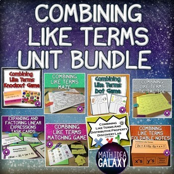 Combining Like Terms Game, Activity, and Lesson Bundle