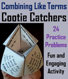 Combining Like Terms Game 7th 8th 9th Grade (Algebra Cootie Catcher Game)