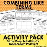 Combining Like Terms Activities