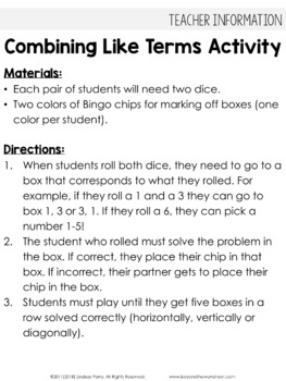 Combining Like Terms Cooperative Learning Activity