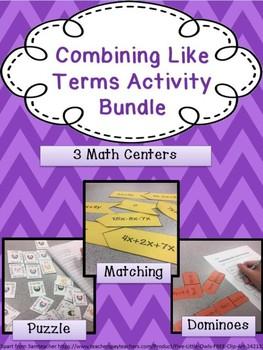 Combining Like Terms Activity Bundle: No Negatives