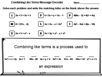 Combining Like Terms Activity: Math Message Decoder