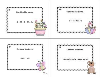 Combining Like Terms-Algebra-40 Task Cards-Spring