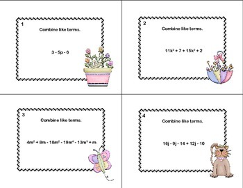Combining Like Terms-Algebra-40 Task Cards-Spring