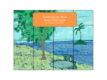 Combining Like Terms Beach Scene Puzzle