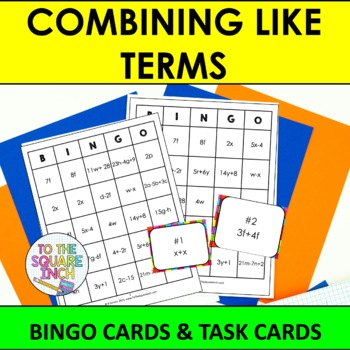 Combining Like Terms Bingo