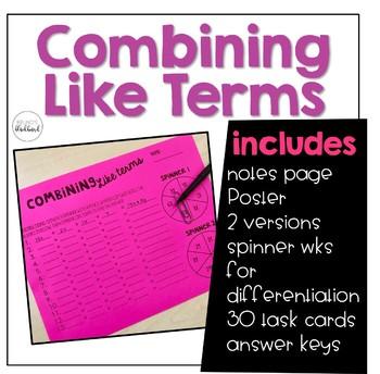 Combining Like Terms Bundle