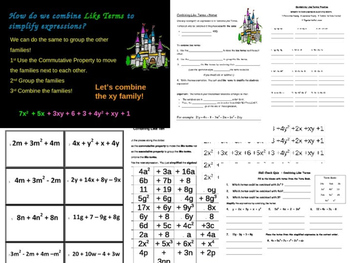Combining Like Terms Common Core Bundle