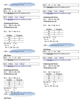 Combining Like Terms Cheat Sheet CCSS 7.EE.1