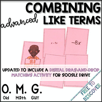 Combining Like Terms Card Game (Challenging)