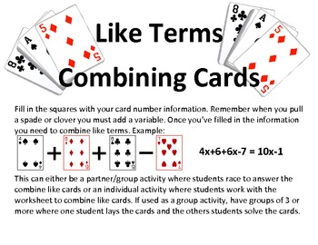 """Combining Like Terms """"Cards"""""""