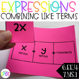 Combining Like Terms Center CCSS 6.EE.4 & 7.NS.1 Aligned