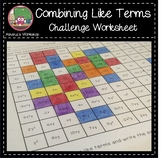 Combining Like Terms Challenge - Coloring Activity Freebie