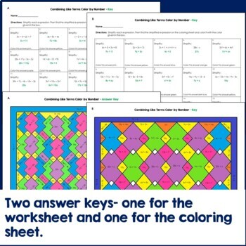 Combining Like Terms Color by Number TpT