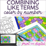 Combining Like Terms Color by Number Distance Learning
