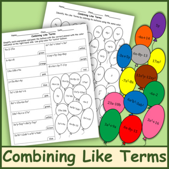 Combining Like Terms Color by Number