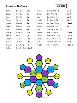 Combining Like Terms - Color by Number Snowflake