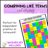 Combining Like Terms Coloring