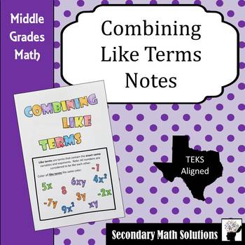 Combining Like Terms Coloring Notes