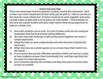 Combining Like Terms - Cooperative Class Challenge