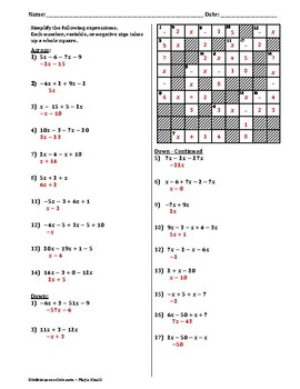 Combining Like-Terms Cross-Number Puzzle