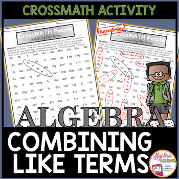 Combining Like Terms CrossMATH Puzzle
