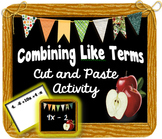 Combining Like Terms- Cut and Paste Activity for Interactive Notebooks