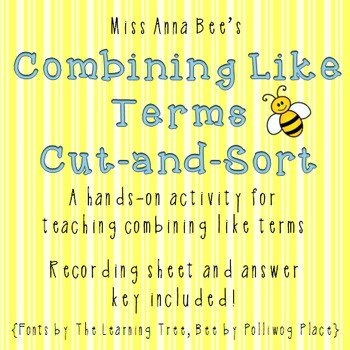 Combining Like Terms Cut and Sort
