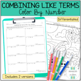 Combining Like Terms Differentiated Color By Number Activity