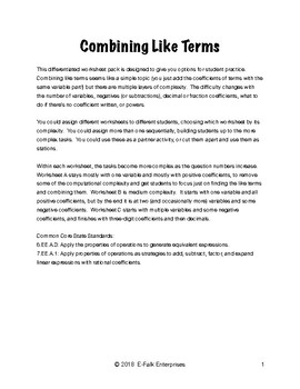 Combining Like Terms Differentiated Worksheet Pack