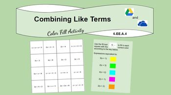 Combining Like Terms Digital Color Fill Activity (6EE4)