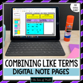 Combining Like Terms Digital Interactive Notebook Pages fo