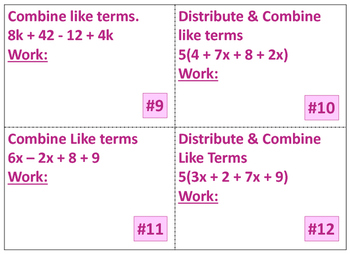 Combining Like Terms & Distributive Property