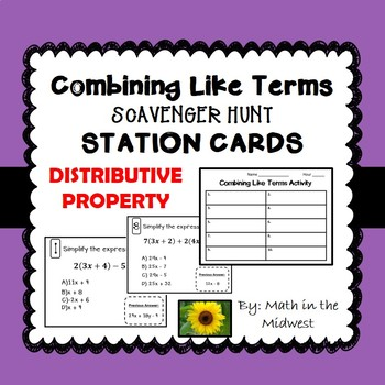 Combining Like Terms Distributive Property Activity {Simplifying Expressions}