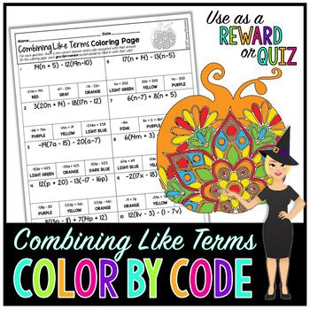 Combining Like Terms & Distributive Property Math Color By Number or Quiz - Fall