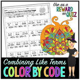 Combining Like Terms & Distributive Property Math Color By