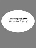 Combining Like Terms & Distributive Property Mini Task Cards