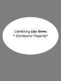 Combining Like Terms & Distributive Property Mini Task Cards