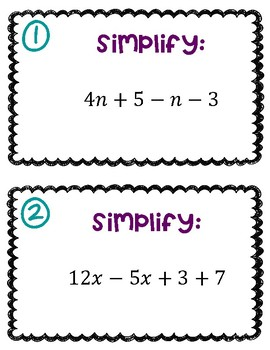 Combining Like Terms & Distributive Property Task Cards