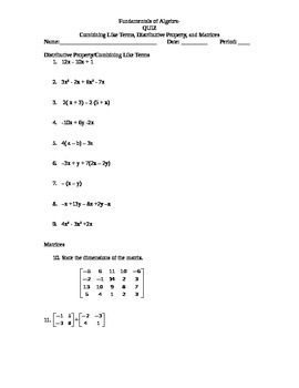 Combining Like Terms, Distributive Property, and Matrices Worksheet/Quiz