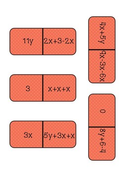 Combining Like Terms Dominoes: No Negatives