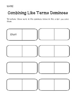 Combining Like Terms Dominoes: With Negatives