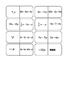 Combining Like Terms Dominos