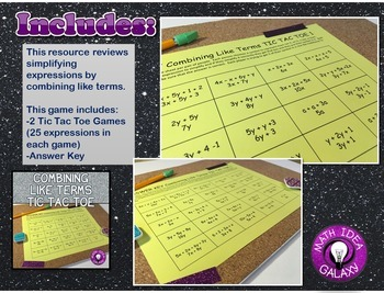 Combining Like Terms Activity Pack