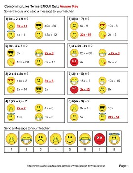 Combining Like Terms Emoji Quiz