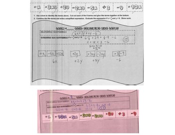 Combining Like Terms & Evaluating Algebraic Expressions Task