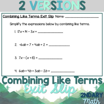 Combining Like Terms Exit Slip
